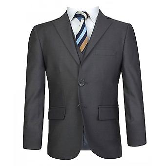 Boys Italian Cut 3 Piece Charcoal Grey Suit