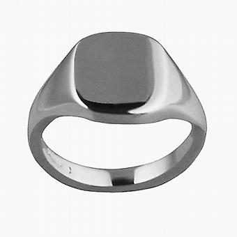 9ct witgoud 12x10mm solide gewoon kussen Signet Ring Size S