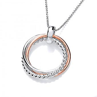 Cavendish French Sterling Silver and Copper Trio Ring Pendant with Silver Chain