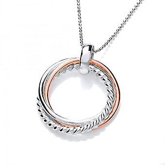 Cavendish französischen Sterlingsilber und Kupfer Trio Ring Anhänger mit Silber Kette