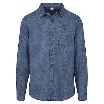 Urban classics men's long-sleeve shirt printed Paisley denim