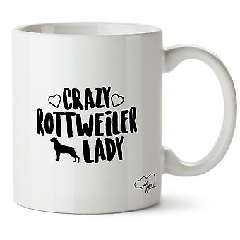 Hippowarehouse Crazy Rottweiler cadela impresso caneca copo cerâmico 10oz