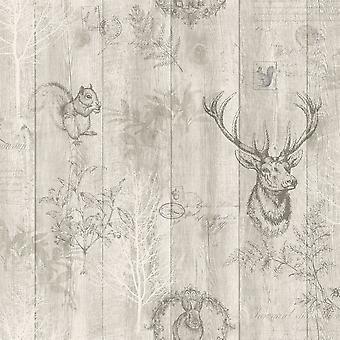 Stag Wood Panel Wallpaper Wooden Effect Grains Animal Print Trees Leaves Holden Beige