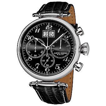 Akribos XXIV mäns retro kronograf läderrem Watch AK628BK
