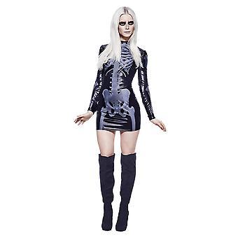 Febre adulto mulher Miss Whiplash esqueleto traje impresso vestido de Halloween grande