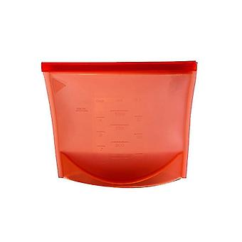 Reusable silicone Ziplock bag with dimensions-red