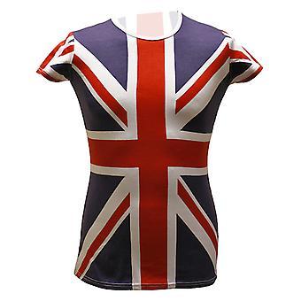 Sf204 union jack allover impresión chicas camiseta