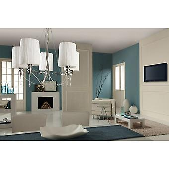 Lucca Pendant 5 Light E27, Polished Chrome With White Shades & Clear Crystal