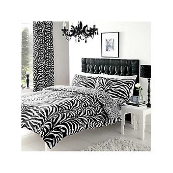 Zebra and Leopard Print Reversible Duvet Cover Set