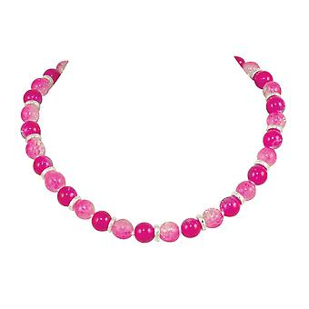 المجموعة الأبدية دومينيكا فوشيا الوردي الزجاج كراكل الخرز الفضي قلادة لهجة