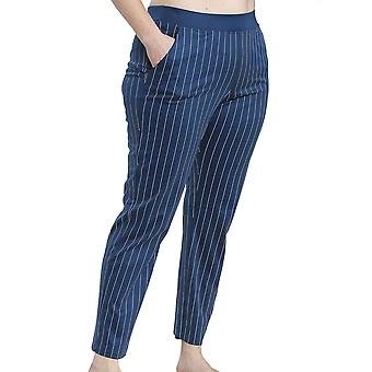 Rösch 1194543-16504 Dame's Kurve Denim Blå Stripete Bomull Pyjamas Bukse