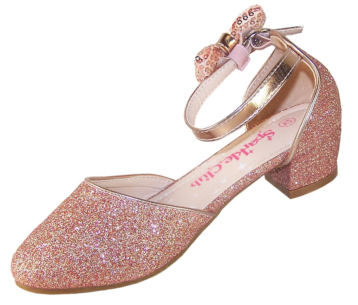 Girls rose gold sparkly heeled party shoes