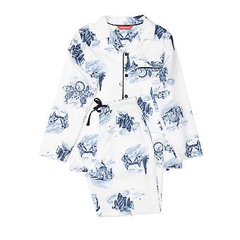 Minijammies 6380 Boy's Harper White Mix London Print Cotton Pyjama Set