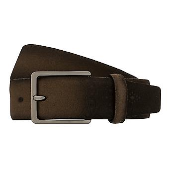 Bugatti bälte mäns bälte läderbälte taupe/grå 8091