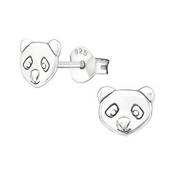 Panda - 925 Sterling Silver Plain Ear Studs - W20827x