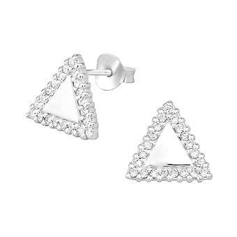 Triangle - 925 Sterling Silver Cubic Zirconia Ear Studs - W30568X