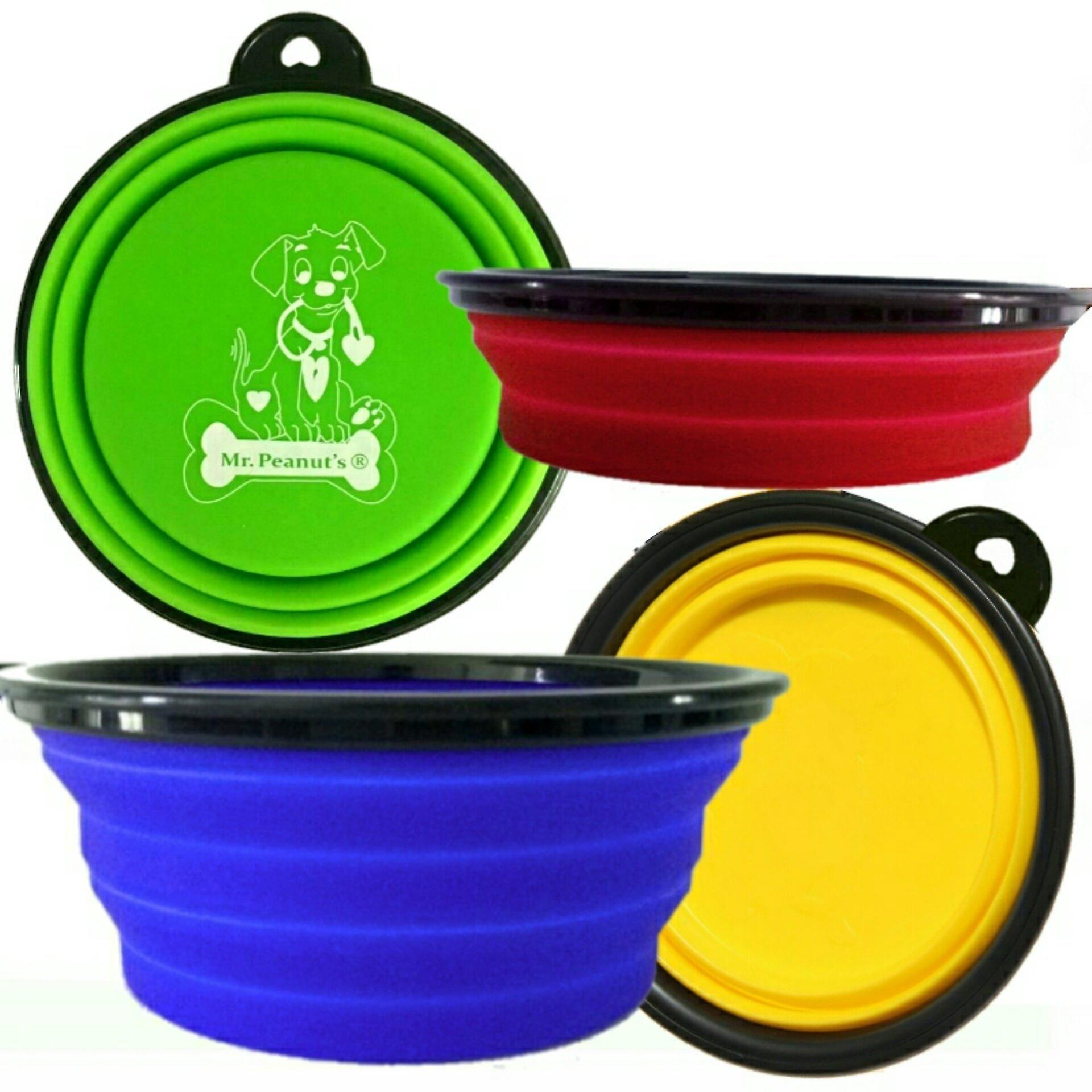 4 pak collapsible travel bowls for cats & dogs