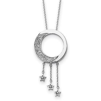 925 Sterling Silver Polished Spring Ring CZ Cubic Zirconia Simulated Diamond Necklace 18 Inch Jewely Gifts for Women