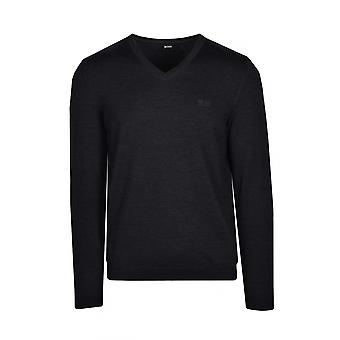 BOSS Athleisure Boss Vallum 1 V Neck Knitwear Charcoal