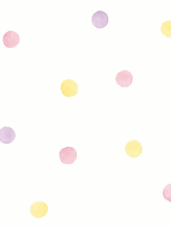 Over the Rainbow Watercolour Polka Dots Wallpaper Pink / Yellow Holden