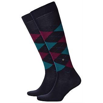 Burlington Edinburgh Knee High Socks - Dark Navy/Purple