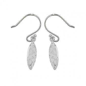 Ewigkeit Sterling Silber kleine Blatt Tropfen Ohrringe