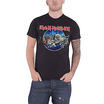 Iron Maiden T Shirt Wasted Years Circle band logo new Official Mens Black