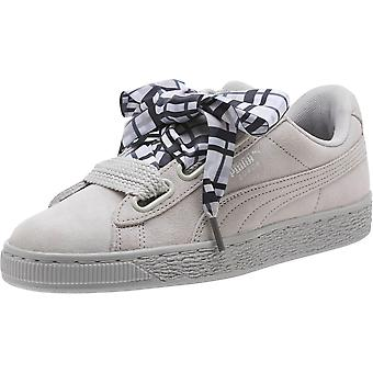 Kids Puma Girls heart plaid Suede Low Top Lace Up