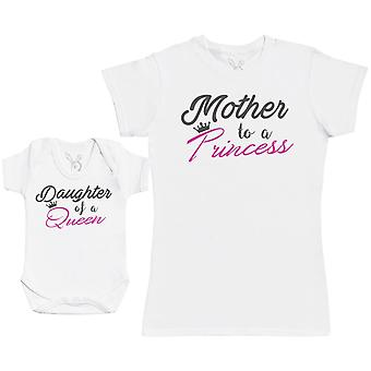 Daughter Of A Queen & Mother To A Princess - Baby Gift Set with Baby Bodysuit & Mother's T-Shirt