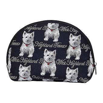 Westie big cosmetic bag by signare tapestry / bgcos-wes