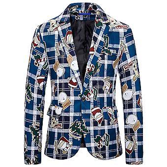 Allthemen Men's One Button Christmas Print Relaxation Rear Split Suit Jacket