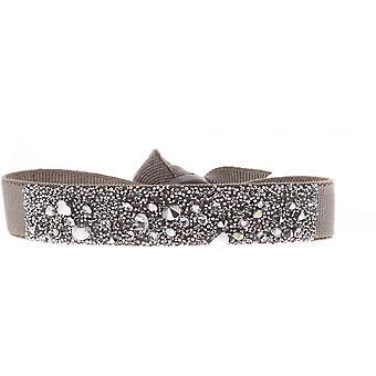 Armband verwisselbaar A36465 - stof bruin vrouw Swarovski kristallen armband