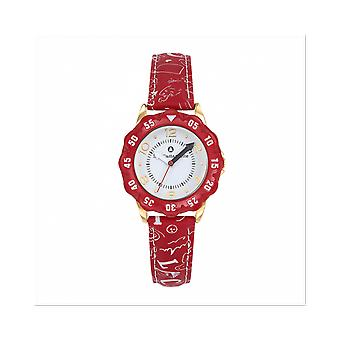 Watch Lulu Castagnette 38867 - P tale Bo tier Steel Dor Leather Bracelet Red Blackhead White Junior