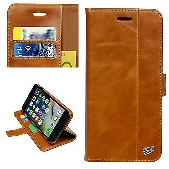 For iPhone 8 PLUS,7 PLUS Wallet Case,Card Slots Genuine Cow Leather Cover,Brown
