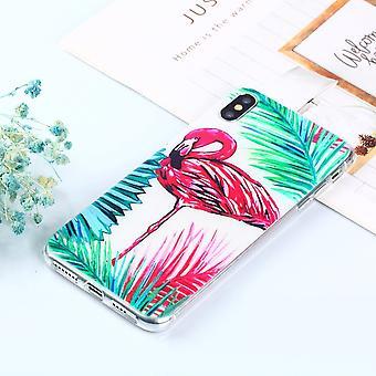 For iPhone XS Max tilfelle flamingo mønster TPU tilbake shell deksel, ripebeskyttelse