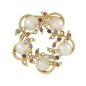 Ewige Sammlung Stella Pearl und Multi-Coloured Crystal Schal Clip