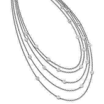 925 Sterling Silver Polished Sparkle Cut Multi layer With 2inch Ext. Necklace 16.5 Inch Jewelry Gifts for Women