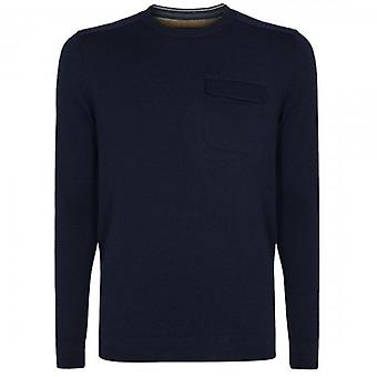 Ted Baker Saysay Navy Crew Neck Knitted Jumper With Pocket