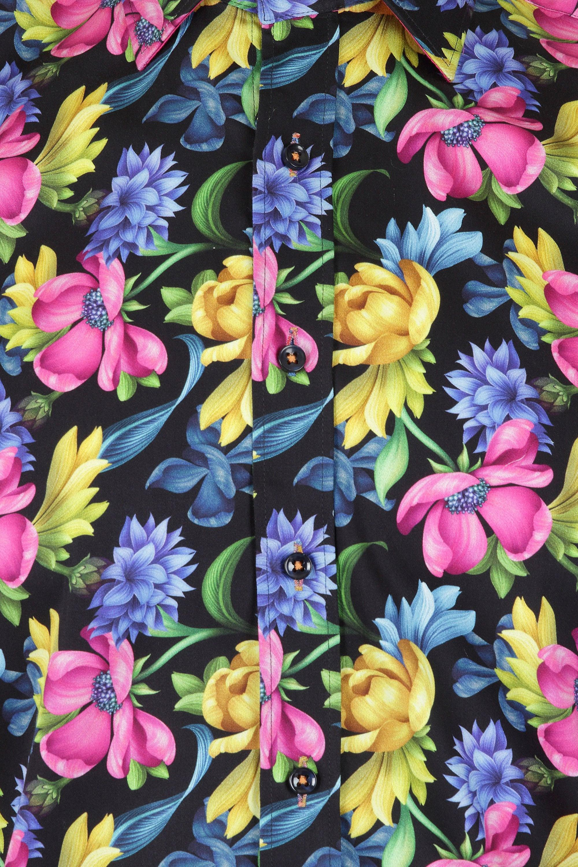 Claudio Lugli Mens Black Floral Shirt