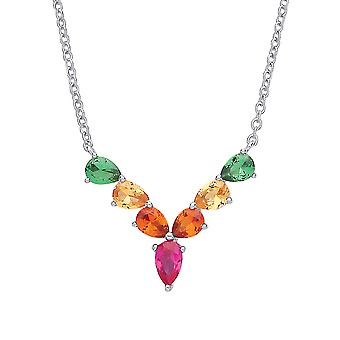 Jewelco London Rhodium Plated Sterling Silver Multi Coloured Pear-Shape Cubic Zirconia Rainbow Tropical Wishbone Eternity Necklace 17 inch