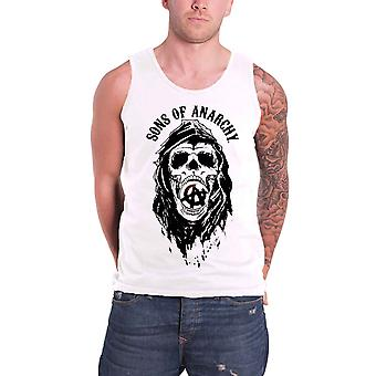 Sons of Anarchy Vest Top SAMCRO Skull Logo Official Mens New White Tank Top