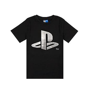 Playstation Foil Logo Print Boy's Kids Childs Black Short Sleeved T-shirt