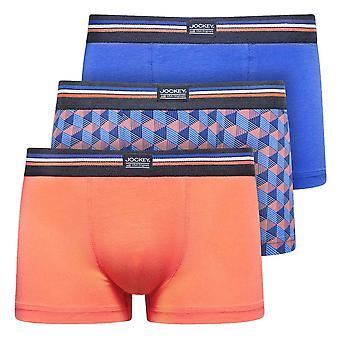 Jockey Cotton Stretch 3-Pack Short Trunks, Nebulas Blue, XX-Large