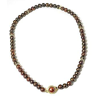 TOC Dyed Brown Spherical Freshwater Cultured Pearl Necklace 18-quot;