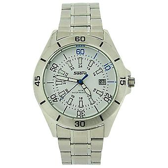Sabre Gents White Dial, Date, Luminous Hands, Stainless Steel Strap Watch 7964G