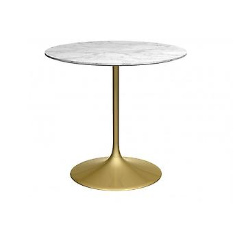 Gillmore Pedestal Medium Dining Table White Marble And Brass