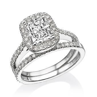 1.8 Carat D SI1 Diamond Engagement Ring 14K White Gold