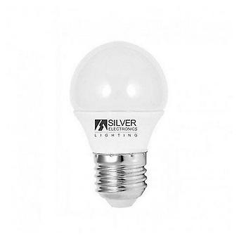 Guľová LED žiarovka Strieborná elektronika ECO E27 5W Biele svetlo/3000K
