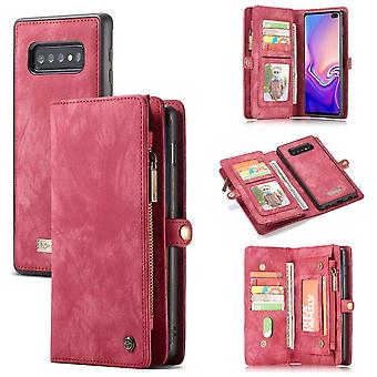CaseMe Vintage Wallet Case Hoesje Samsung Galaxy S10 Plus - Rood