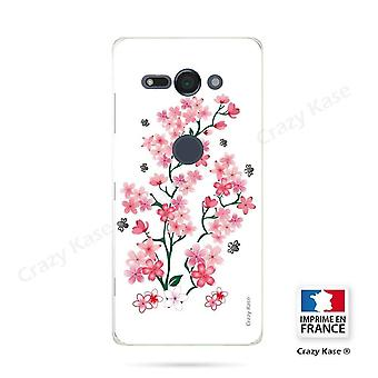 Hull For Sony Xperia Xz2 Compact Soft Pattern Flowers De Sakura On White Background